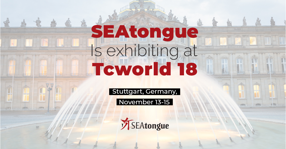 SEAtongue is Exhibiting at The Tcworld Conference 2018!